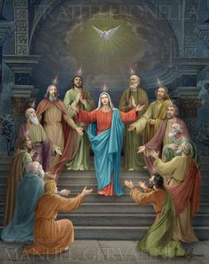 Pentecost Holy Spirit apostles Mary - art by Manuel Gervasini Jesus Mother, Blessed Mother Mary, Blessed Virgin Mary, Religious Pictures, Jesus Pictures, Christian Images, Christian Art, Catholic Art, Religious Art