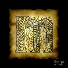 Celtic Letter M Monogram Mixed Media
