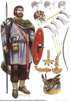 A generic Germanic warrior, 3rd to 5th cent. AD. The hair styles in the top right are of the Suebi tribes and were called Suebian knots. The axes, were throwing axes more commonly found among the Franks. The decorative pieces were shield decorations for elite warriors and were probably used only on shields used in ceremonies. By this time, most if not all Germanic warriors had swords as well as spears.