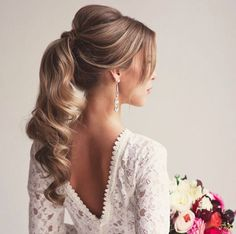 Hair updo, ponytail updo, curly ponytail hairstyles, wedding hairstyles for Cute Ponytail Hairstyles, Easy Formal Hairstyles, Wavy Ponytail, Cute Ponytails, High Ponytails, Wedding Hairstyles For Long Hair, Wedding Hair And Makeup, Bride Hairstyles, Hair Makeup
