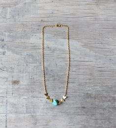 "Arrow necklace ""Poseidon"" - Brass and turquoise"