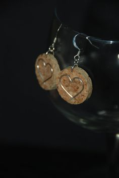 Heart Wine Cork Earrings by GulfCoasters on Etsy, $6.00