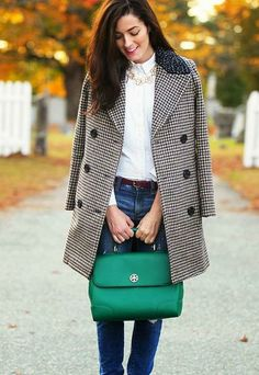 50 Fall Outfits To Copy | StyleCaster- ode to Classy Girls Wear Pearls, herringbone, and emerald green.