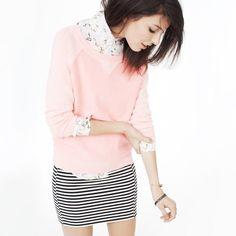 Tiny Black & White Stripes + Tiny Floral Print + Blush or Light Rose