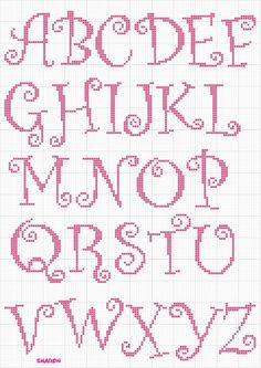 Whimsical Curly Caps 1 of 1 Monogram Cross Stitch, Cross Stitch Alphabet Patterns, Cross Stitch Numbers, Embroidery Alphabet, Cross Stitch Baby, Embroidery Fonts, Cross Stitch Designs, Stitch Patterns, Embroidery Patterns