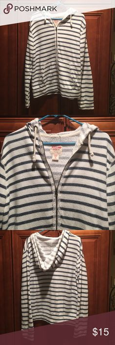 Men's White and blue stripe zip up hoodie Super soft and cozy Men's white and blue stripe terry cloth zip up hoodie. Has a worn look, only been used a few times, but it had the same worn look when I bought it. No stains, no tears, excellent condition. Even thought it's a men's hoodie, it would look cute on a woman too as an oversized jacket. Mossimo Supply Co Shirts Sweatshirts & Hoodies
