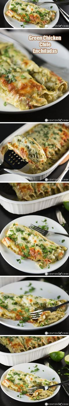 GREEN CHILE ENCHILADAS Recipe with tender CHICKEN, tasty green sauce, cheese, and sour cream, gets baked in the oven until bubbly and golden brown! This is a recipe the whole family will love and it's ready in 35 minutes!