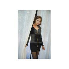 Schwarzes modisches Kleid mit Reissverschluss Japan Style Modell: Ali