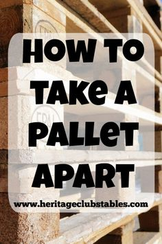 Pallets are the best invention ever for those of us who value the high cost of free wood. Watch this helpful video to see how to take a pallet apart.