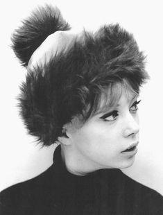 Pattie Boyd modelling a cute fur trimmed hat