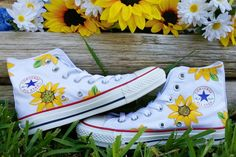 Daisy Sorority High Top Converse by ShannysShoes on Etsy