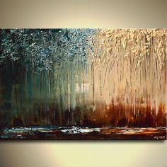 Cuchillo paleta moderna pintura de paisajes - arte por Osnat.  Se crea esta pintura confeccionar similar al que ves aquí, que ya he vendido. Marco de tiempo para crearla es de 5 días. La pintura se textura como ves aquí, voy a utilizar los mismos colores, la pintura estará lista para colgar, se pintarán los bordes como una continuación de la pintura.  Maravilla  Tamaño: 40 x 30 grueso lienzo  Medio: Acrílico sobre lienzo envuelto  Colores: Marrón, óxido, teal, luz azul, crema, amarillo…