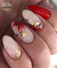 Red Acrylic Nails, Acrylic Nail Designs, Nail Art Designs, Gel Nails, Fancy Nails, Cute Nails, Pretty Nail Art, Autumn Nails, Fall Nail Art