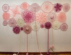 Cecile Dachary. Le Ciel est rose  laine acrylique  250cm X 180 cm