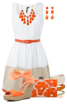 """""""Orange you glad it's Summer?!"""" by kginger ❤ liked on Polyvore featuring Nali, Edie Parker, Penny Loves Kenny and Kate Spade"""