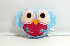 Rose Owl Eco Friendly Stuffed Plush Toy by vivikas on Etsy, $15.00