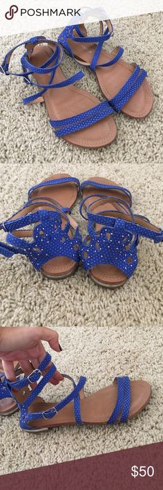 Blue leather sandals size 5 Real leather, made in Brazil. Like new! Botero Shoes Sandals