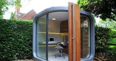 Creative Modern Small Prefab Home Office Design in Backyard – OfficePOD Shed Office, Office Pods, Backyard Office, Outdoor Office, Cool Office, Garden Office, Office Ideas, Tiny Office, Future Office