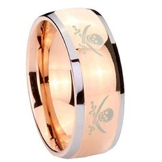 8MM Tungsten Carbide 4_Skull Pirate Design Shiny Rose Gold IP Silver Edges Dome Engraved Ring Size 10 Tungstenmen http://www.amazon.com/dp/B00FSG084Y/ref=cm_sw_r_pi_dp_mBBdvb0NF48PE