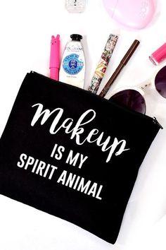 Makeup Is My Spirit Animal Makeup Bag - Black