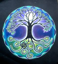 Full Moon Tree of Life Mandala Drawing by SoulArteEclectica, I love this for Mom's tattoo