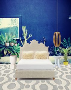 Love the anything-but-moody blue wall.