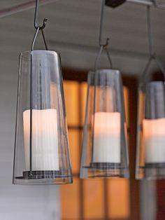 Acadia Glass Lantern - LED Pillar Candle Holder | Gardeners.com about 24.00