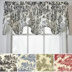 @Overstock.com - Victoria Park Scallop Valance - Dress up your windows with these cotton scallop valances. Each valance features a classic toile pattern for an elegant look. They are fully lined, made of 100 percent cotton, and feature a scalloped design. Choose from black, blue, green, or red.  http://www.overstock.com/Home-Garden/Victoria-Park-Scallop-Valance/5658594/product.html?CID=214117 $28.99