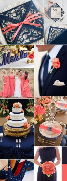 Navy Blue and Coral Wedding Decoration Ideas and Matched Wedding Invites