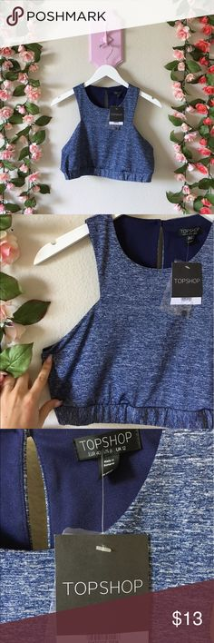 Topshop crop tank Topshop crop tank in heathered blue. NWT no flaws. Size 8 fits true. Sorry no modeling but offers accepted!  **EVERYTHING I SELL IS IN FAIR TO GREAT CONDITION.I WILL ALWAYS SPECIFY ANY WEAR/TEAR.MY PRICES ARE SO LOW BECAUSE I AM A STAY AT HOME MOM & AM TRYING TO MAKE EXTRA INCOME TO SUPPORT MY LITTLE FAMILY!THANKS FOR CONTRIBUTING TO MY DREAM OF BEING A FULL TIME MOMMY! Topshop Tops Crop Tops