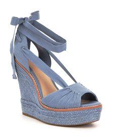 afe6a28878 Gianni Bini Raedy Canvas Peep Toe Ankle Tie Espadrille Wedge Sandals Ankle  Tie Espadrilles, Espadrille