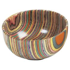Wood bowl with a multicolor motif.   Product: BowlConstruction Material: WoodColor: Multi