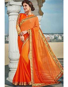 Fabulous Orange Shaded #Saree