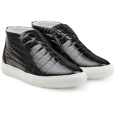 Pierre Hardy Embossed Leather Sneakers (285.260 CLP) ❤ liked on Polyvore featuring shoes, sneakers, black, slipon shoes, black shoes, round toe sneakers, leather shoes and black slip on sneakers