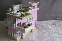 lego pink modern house MOC