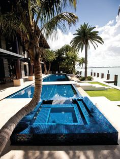 Make waves with waterfalls, fountains and slides in these top 75 best swimming pool designs. Explore the coolest backyard home pool ideas ever. Swimming Pool Tiles, Swimming Pool House, Small Swimming Pools, Swimming Pool Designs, Spas, Ideas De Piscina, Villa, Pool Picture, Tropical Pool