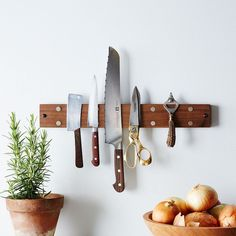 A gorgeous yet functional way to store knives: the Reclaimed Knife Grabber from Peg and Awl. | Food52
