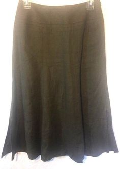 b12af714435 Talbots Woman s 2 P Skirt Pure Irish Linen A-line Long Brown   Olive Green