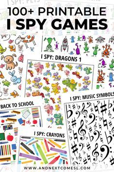 I Spy Games for Kids - Tons of Free Printables! Do your kids love I spy games? There's over 100 printable I spy games for kids here for every season, occasion, and interest and tons of these are free printables! Spy Games For Kids, I Spy Games, Printable Activities For Kids, Toddler Activities, Preschool Activities, Language Games For Kids, Seasons Activities, Toddler Games, Literacy Games