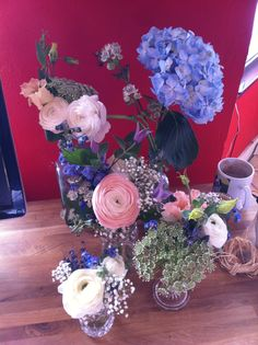 Consultation flowers - bud vases, jam jar, bottles
