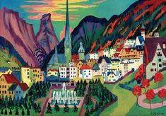 Ernst Ludwig Kirchner - Davos mit Kirche