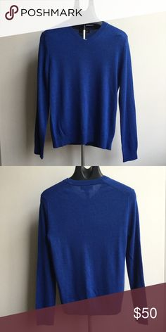 Banana Republic Easy Care Merino Vee Sweater Easy care extra-fine Italian Merino wool with H2Dry treatment;  moisture wicking fibers keep surface of the body dry and lets skin breathe;  less wrinkling;  color - tanzanite gem;  lightly worn (maybe once or twice) Banana Republic Sweaters V-Neck
