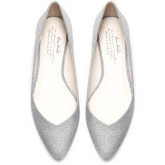Zara Ballerina Flats With Crystals ($30) ❤ liked on Polyvore featuring shoes, flats, ballerinas, silver, leather flat shoes, ballerina flats, ballet flat shoes, ballerina flat shoes and zara flats