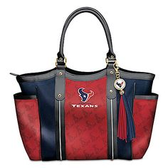 NFL-licensed custom-designed shoulder tote with team logo in designer pattern. Team color poly twill, faux leather handles and logo charm tassel. Football Spirit, Football Fans, Houston Texans Logo, Walking Tall, Bradford Exchange, Washington Redskins, Canvas Sneakers, Leather Handle, Fashion Accessories