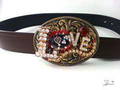 Love Belt Buckle, Boho Belt buckle, Buckle for belt, Vintage rhinestones, Womens belt Buckle.. belt not included.  $74.95