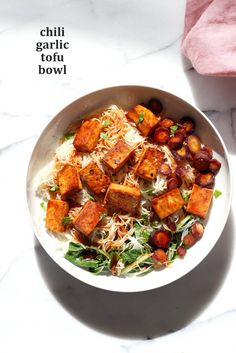 Baked Chili Garlic Tofu, Carrot, Chard and Noodle Bowls. Easy Weeknight Meal. Add some toasted cashews & other veggies of choice. Gluten-free Nut-free Vegan Recipe.