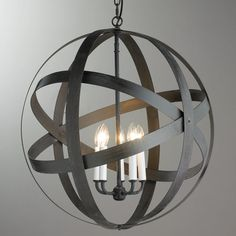 Check out Rustic Metal Strap Globe Lantern - 5 Light from Shades of Light