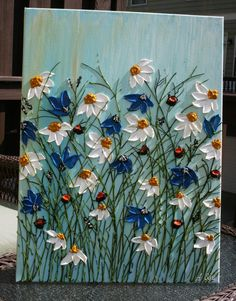 oh the places ill go Original Daisy Heavy Impasto Flowers Painting Palette Knife Technique Painting. This painting is of previous one that is sold. Your painting would be Daisy Painting, Acrylic Painting Flowers, Acrylic Painting For Beginners, Beginner Painting, Painting Edges, Acrylic Painting Canvas, Acrylic Art, Canvas Art, Painting Art
