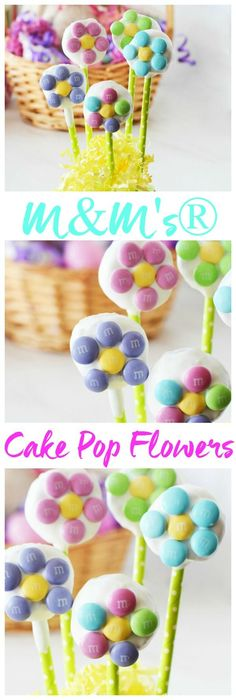 Easy Cake Pop Flowers made with Easter M&M's®️️ Milk Chocolate. Get the full cake pop DIY on the blog. #AD #SweeterEaster @walmart