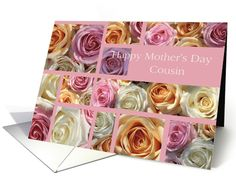 cousin Happy Mother's Day pastel roses collage card